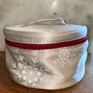 Clarins Silver Snowflake Cosmetic Travel Bag